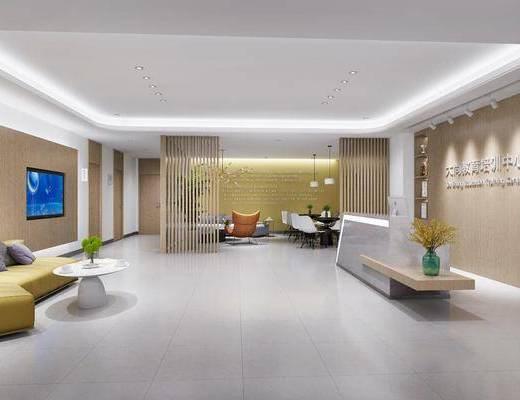 教育机构, 前台, 接待区, 沙发组合, 桌椅组合, 单椅, 现代教育机构, 现代
