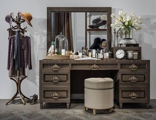 梳妆台, 摆件组合, 植物, 衣架, 化妆品