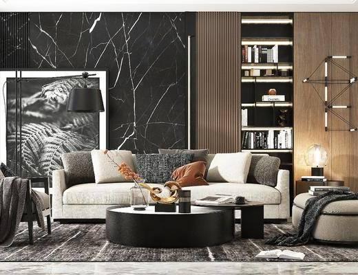 沙发组合, 茶几, 摆件组合, 墙饰, 装饰画, 落地灯