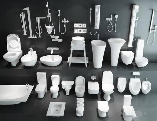 潔具, 馬桶, 洗手盆, 浴缸, 花灑, 龍頭