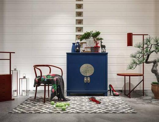 边柜, 柜架组合, 摆件组合, 单椅, 落地灯