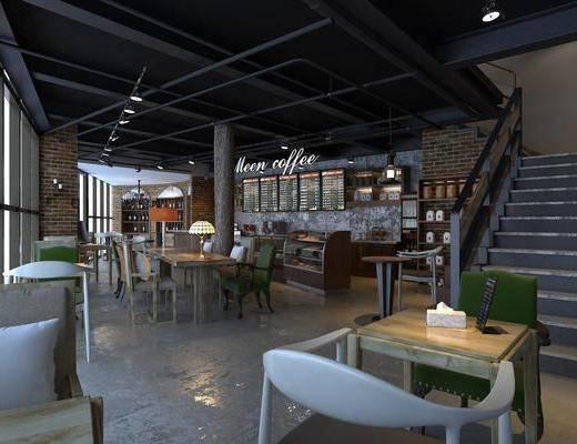 咖啡厅, 桌椅组合, 楼梯, 食物柜, 工业风