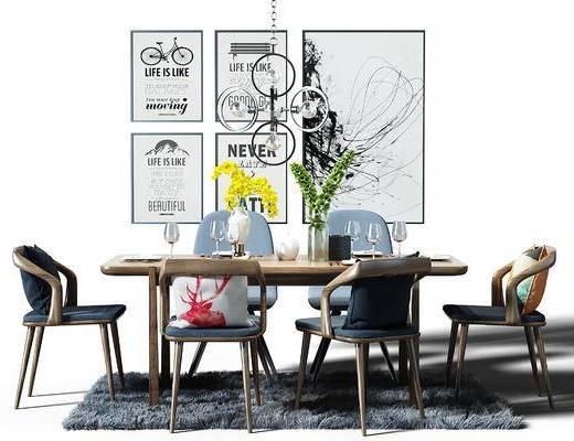 餐桌, 桌椅, 装饰画, 组合画, 地毯, 吊灯, 现代, 北欧, 餐桌椅, 桌椅组合