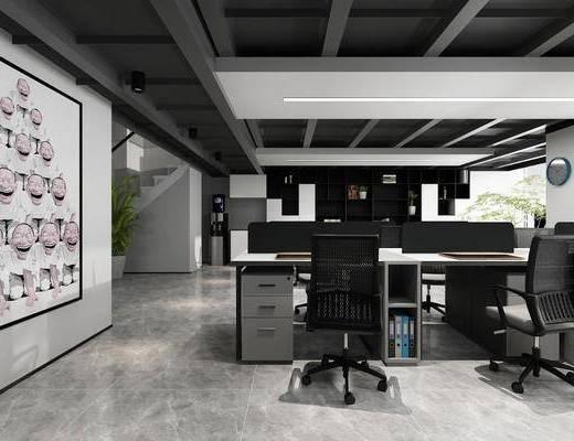 办公室, 桌椅组合, 背景墙, 置物柜