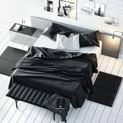 床具組合, 雙人床, 現代雙人床, 邊幾, 壁燈, 掛畫, 木墊, 組合, 現代
