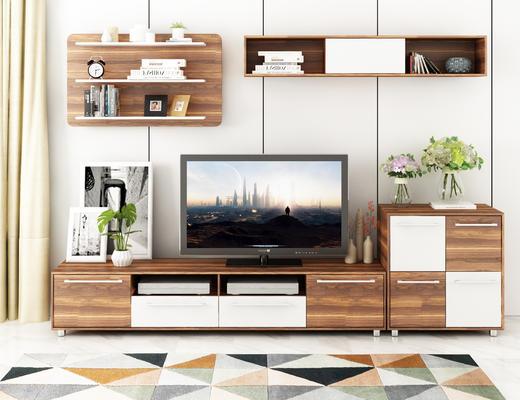 现代, 电视柜, 装饰画, 装饰架, 电视机, 花瓶