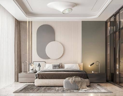 雙人床, 墻飾, 衣柜, 床頭柜, 吊燈