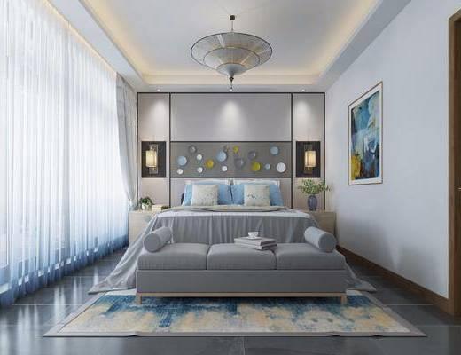 卧室, 双人床, 床头柜, 壁灯, 吊灯, 装饰画, 墙饰, 挂画, 床尾凳, 中式