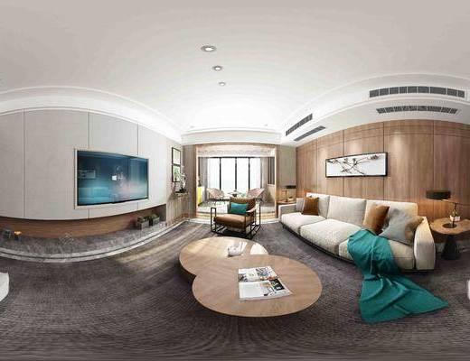 客厅, 后现代, 现代, 茶几, 多人沙发, 沙发, 挂画, 单人沙发