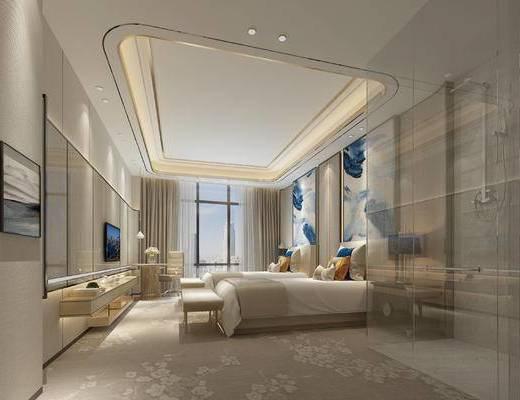 单人床, 背景墙, 电视柜, 落地灯