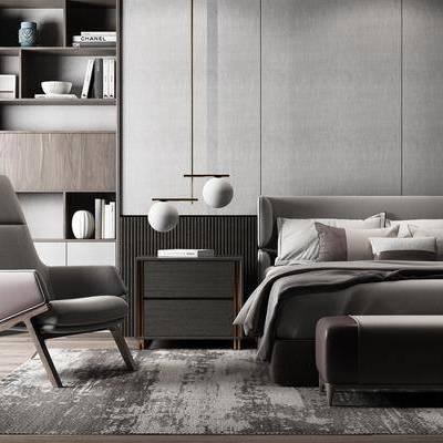 现代床具单椅组合, 现代, 床具, 双人床, 吊灯, 床头柜, 单椅, 休闲椅, 书柜, 置物架, 书籍, 摆件