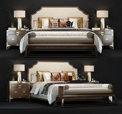 新中式, 双人床, 台灯, 床头柜, 摆件, 盆栽
