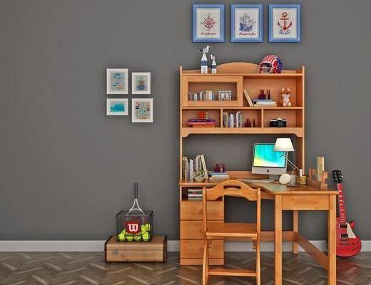 书桌, 桌椅组合, 装饰画, 摆件组合