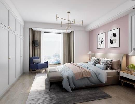 卧室, 双人床, 床头柜, 吊灯, 床尾凳, 单人沙发, 装饰画, 组合画, 北欧