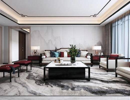 新中式客廳, 客廳, 沙發組合