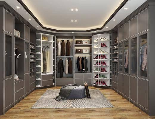 衣帽间, 装饰柜, 衣柜, 服饰, 凳子, 现代