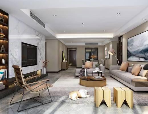 现代客餐厅, 多人沙发, 木凳, 单椅, 餐桌椅, 挂画, 边柜, 置物架, 落地灯, 茶几