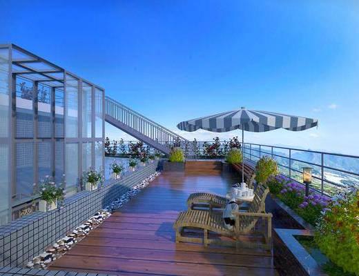 阳台露台, 太阳伞, 休闲椅, 单人椅, 花卉, 绿植植物, 现代