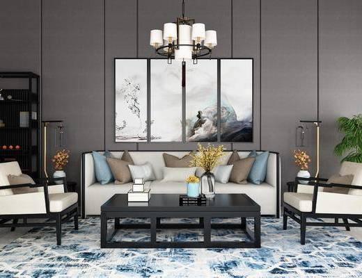 新中式客厅, 新中式沙发, 中式沙发, 茶几, 吊灯, 中式挂画, 植物