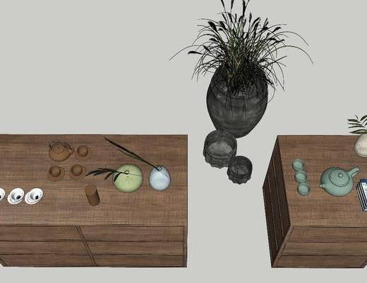 摆件组合, 植物, 茶具