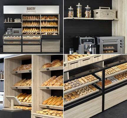 面包店, 保鲜柜, 面包架, 微波炉, 咖啡机, 收银台, 食物, 面包, 现代