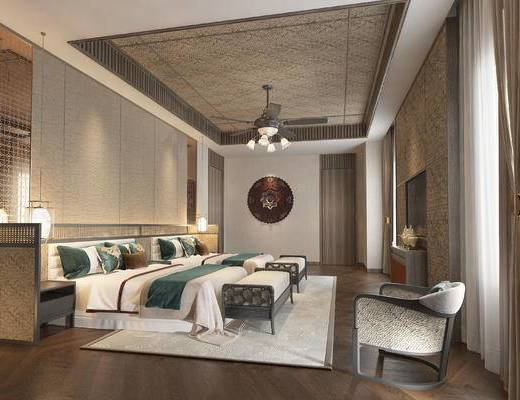 双人床, 床尾踏, 地毯, 单椅, 吊灯, 床头柜, 电视柜