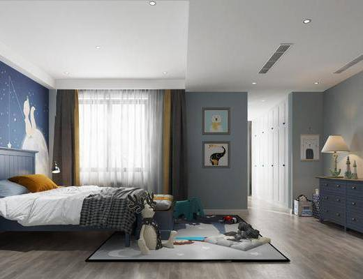 儿童房, 卧室, 双人床, 床尾凳, 装饰柜, 边柜, 装饰画, 台灯, 床头柜, 玩具, 摆件, 装饰品, 陈设品, 美式