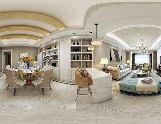 简欧客厅, 客厅, 沙发组合, 餐厅, 餐桌椅