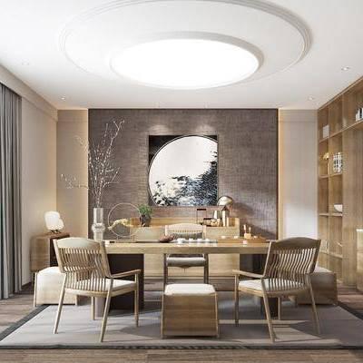 新中式书房, 中式书房, 书桌椅, 桌椅组合