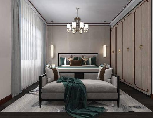 卧室, 双人床, 床尾凳, 吊灯, 衣柜, 新中式