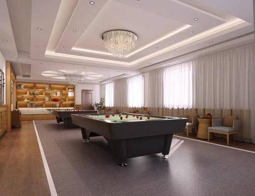 桌球室, 装饰柜, 单人椅, 吊灯, 现代