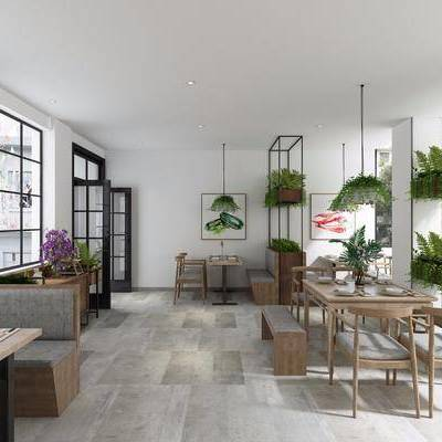 现代餐厅, 餐厅, 现代, 餐桌椅, 置物架, 花瓶, 装饰画