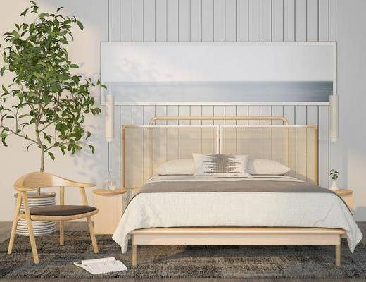 床具组合, 单椅, 盆栽植物, 双人床