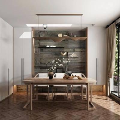 茶室, 茶桌, 单人椅, 装饰架, 摆件, 新中式