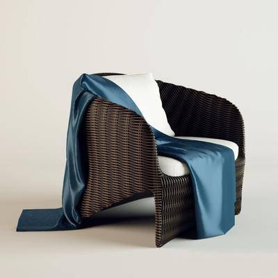 藤编, 休闲椅, 丝绸, 户外椅, 现代, 单椅