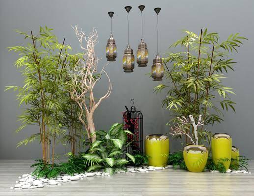 吊灯, 竹子, 干枝花瓶, 石头摆件, 新中式