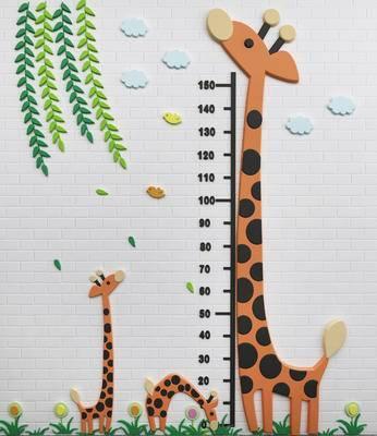 儿童身高贴, 墙饰, 长颈鹿, 幼儿园