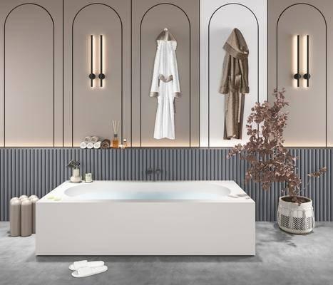 现代浴缸, 盆栽, 摆件, 挂件