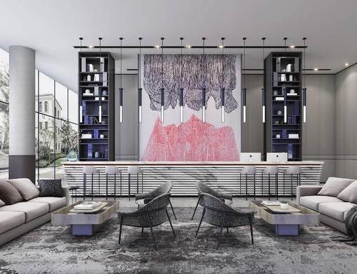 新中式, 售楼处, 桌椅组合, 灯具, 墙饰