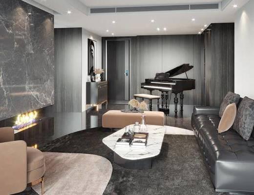钢琴, 沙发组合, 茶几, 单椅, 装饰画, 边柜, 摆件组合