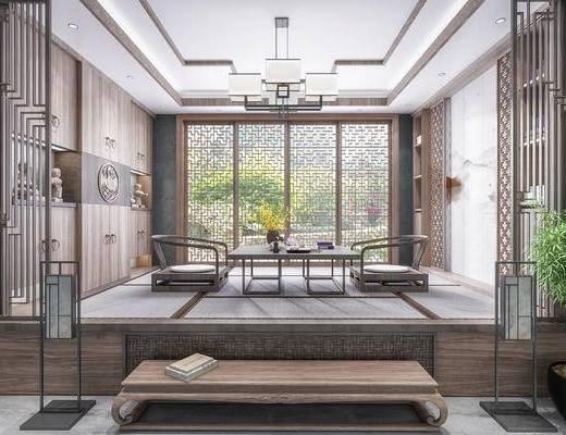 茶室, 吊灯, 背景墙, 植物