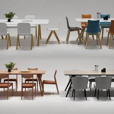 餐桌, 餐椅, 单人椅, 摆件, 北欧