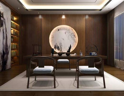 书房, 茶桌, 单人椅, 装饰柜, 边柜, 书柜, 摆件, 装饰品, 陈设品, 新中式