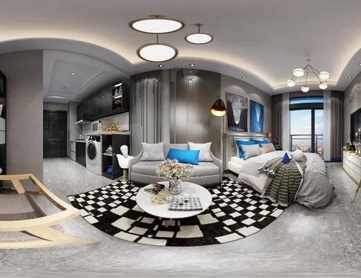 现代, 公寓, 卧室