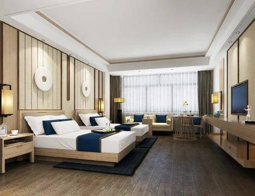 酒店客房, 双人床组合, 沙发组合, 墙饰, 桌椅组合, 新中式