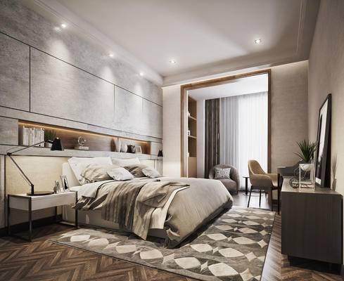 现代, 卧室, 床具, 双人床, 床头柜, 摆件, 装饰品, 陈设品, 边柜, 装饰柜, 装饰画, 单椅, 书桌, 椅子, 书柜, 置物柜