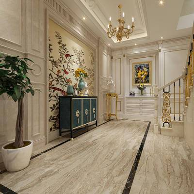 美式, 别墅, 地下室, 楼梯间