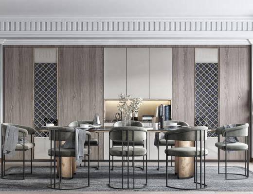 餐桌, 桌椅组合, 花瓶, 酒柜