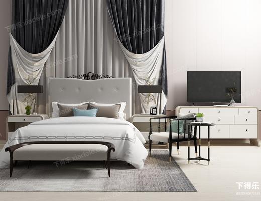 双人床, 床头柜, 电视柜, 休闲椅, 床尾凳, 电视机