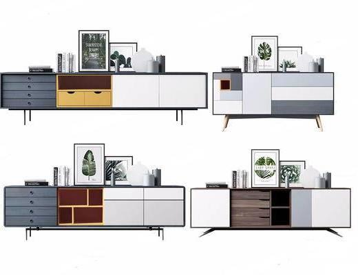 北欧简约, 实木柜, 装饰画组合, 陶瓷组合, 柜子组合